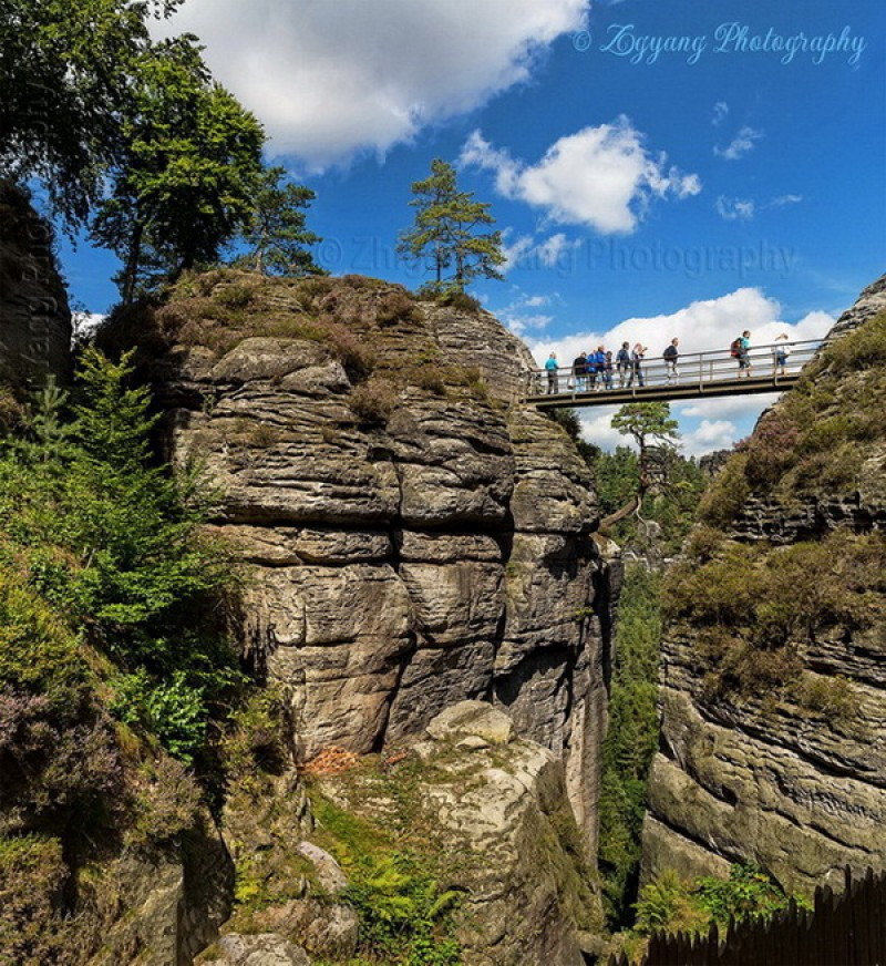Walk on bridge between cliffs at Bastei