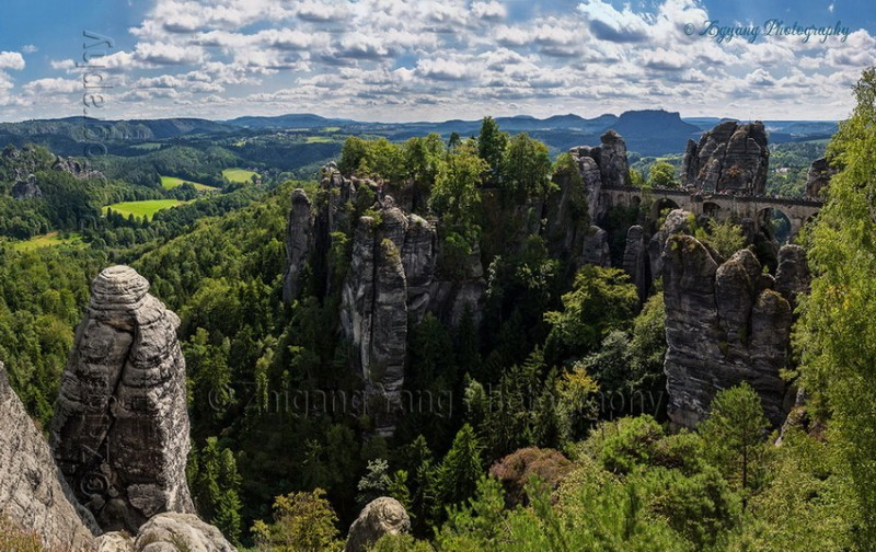 Bastei bridge in Saxon Switzerland National Park p