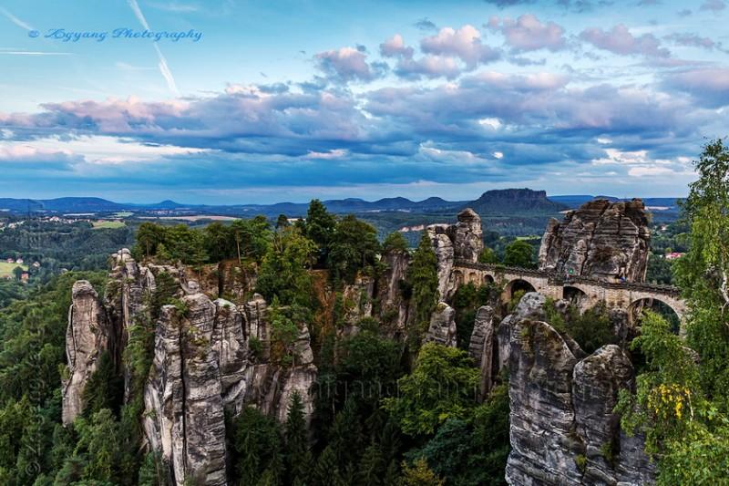 Bastei landscape in Saxon Switzerland National Park