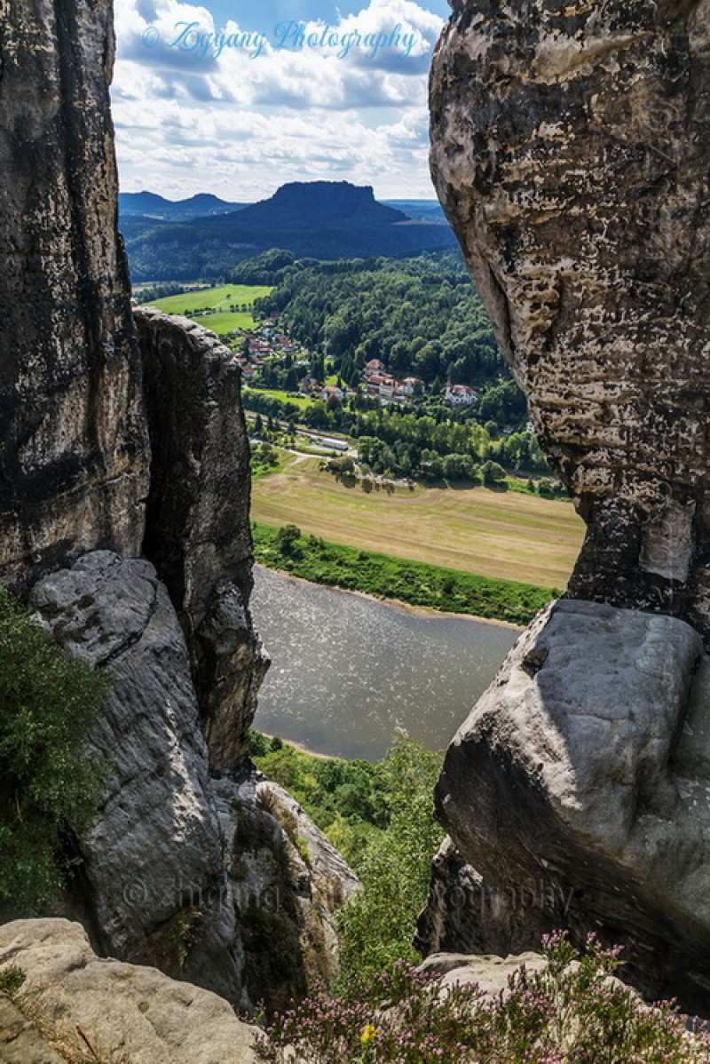 A breathtaking view of Elbe river through cliffs
