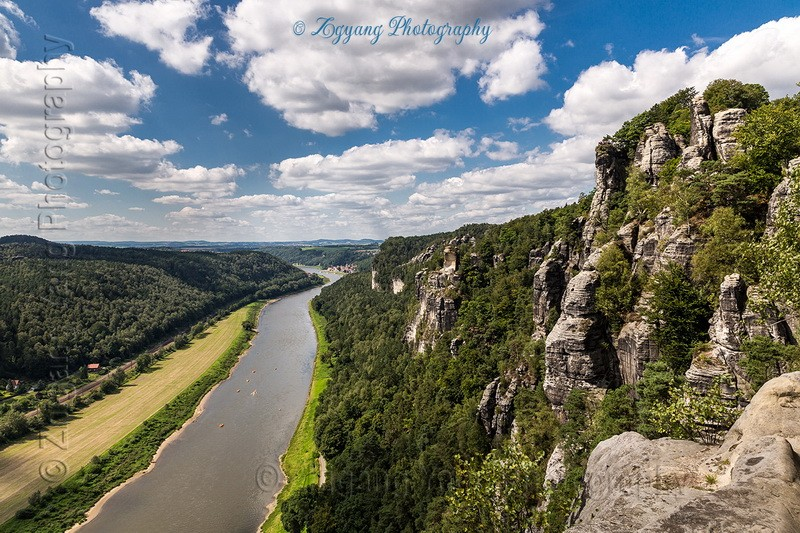 Bastei rocky mountains and Elbe river