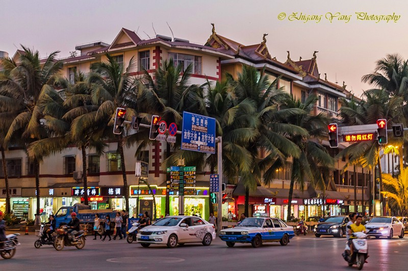 Crossroad in city center of Jinghong