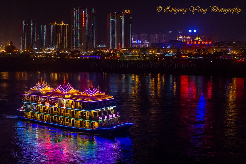 Sightseeing boat on Lancang River