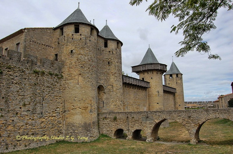 Medieval castle entrance in Carcassonne, France