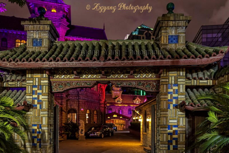 Moller Villa Gate by Night in Shanghai