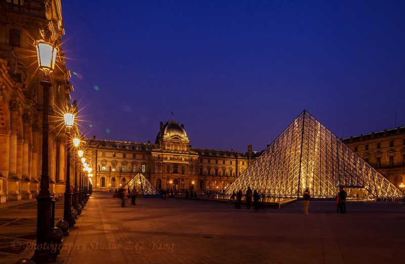 Museum Louvre by night, France