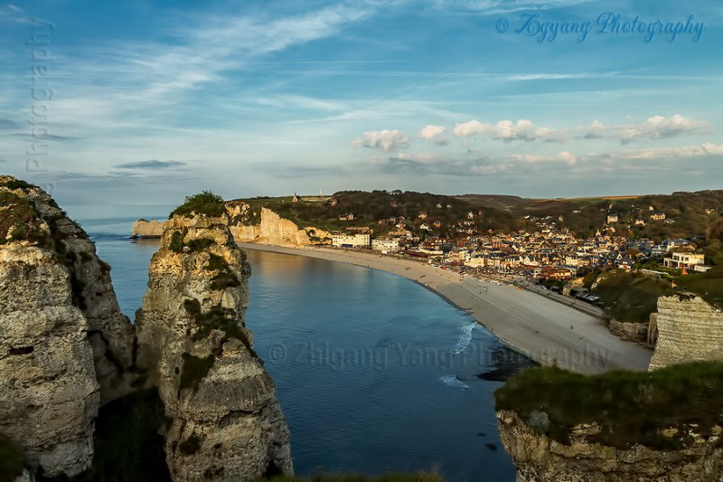 Rock formation on Etretat seashore at sunset 1