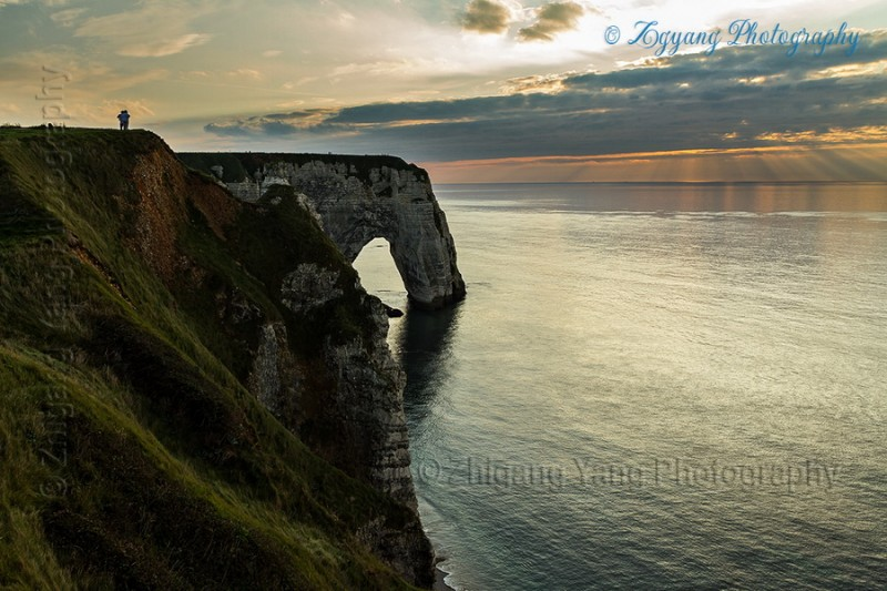 Rock formation on Etretat seashore at sunset 2