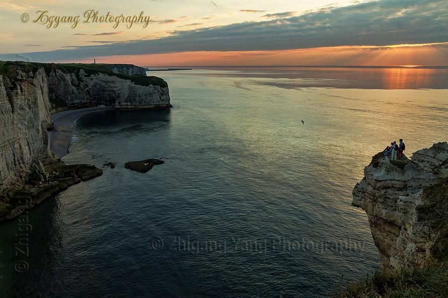 Waiting for sunset at Etretat seashore 2