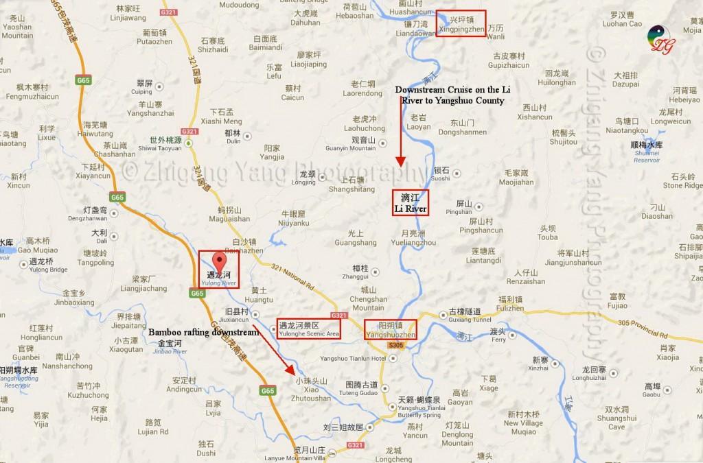 Li River and Yulong River Map