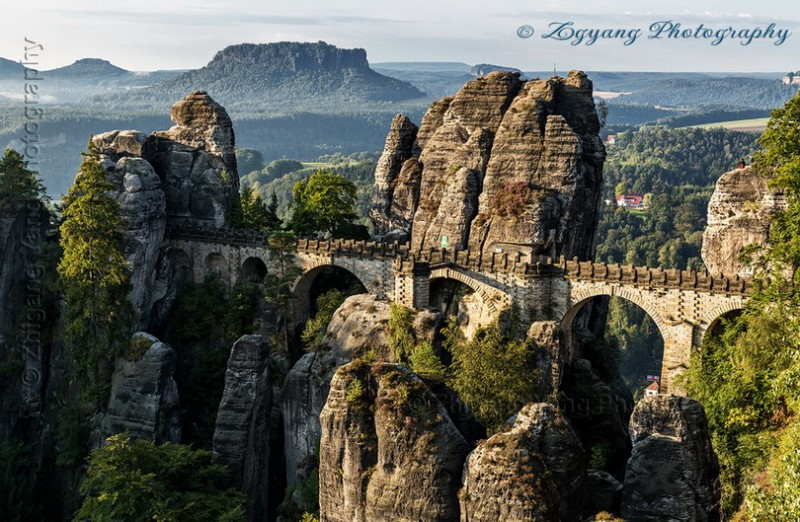 Bastei bridge in Saxon Switzerland National Park