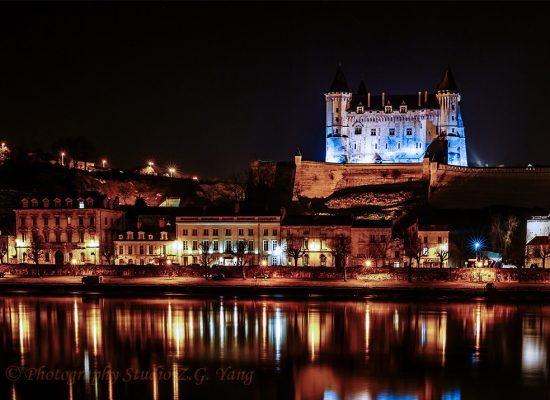 Castle Saumur by night, France