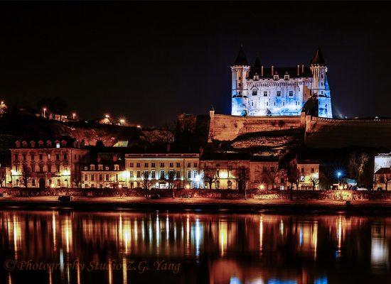 Castle Saumur by night, France