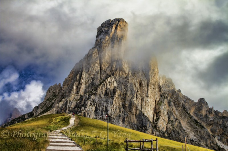 Dolomite with coulds, Italy