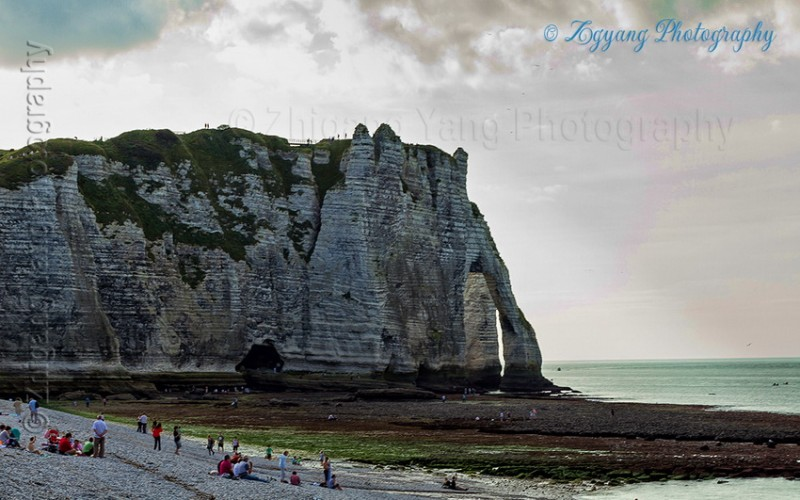 Etretat beach and cliffs with special rock formation