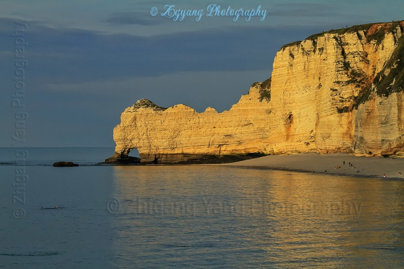 Etretat beach at sunset