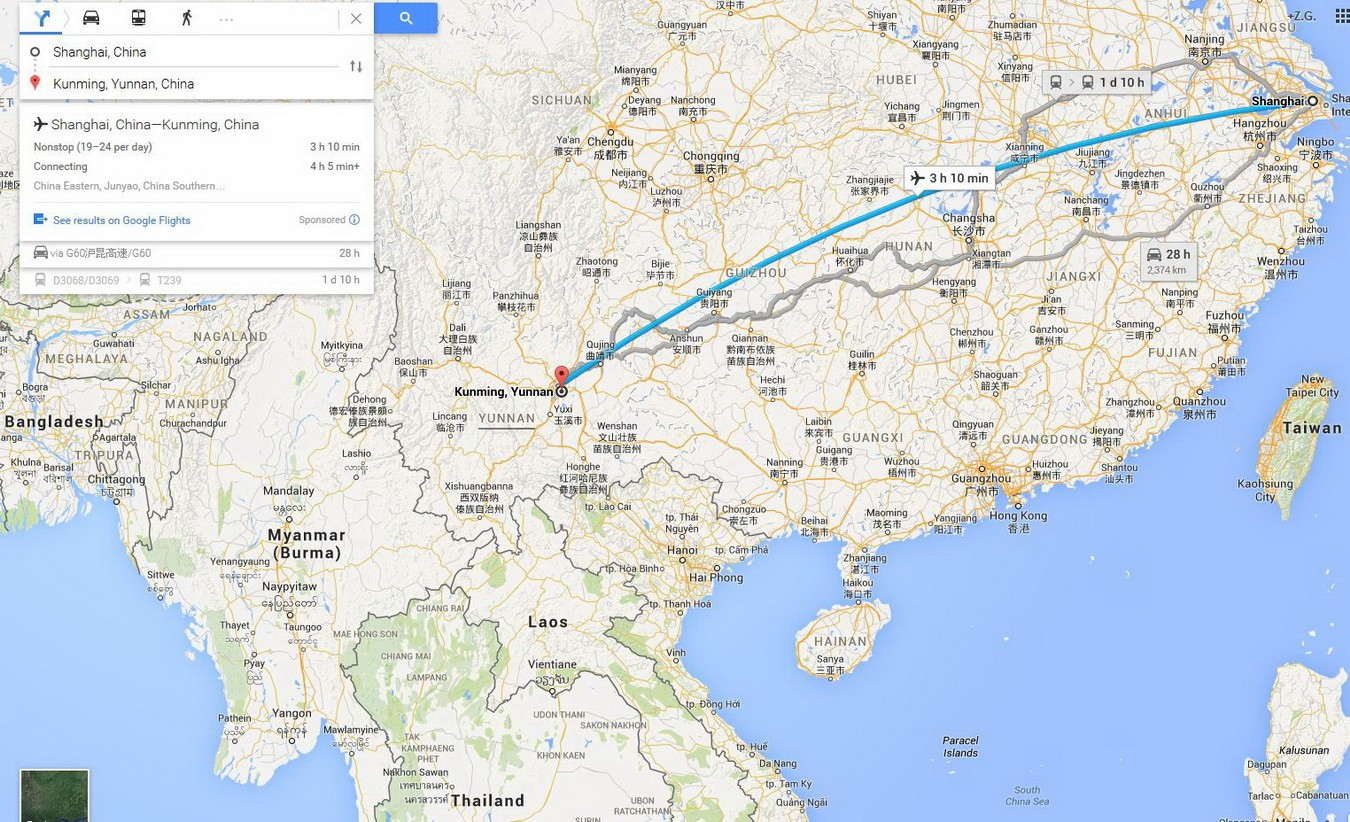 Fly route from Shanghai to Kunming