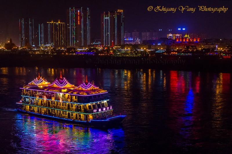 Sightseeing boat on Lancang River