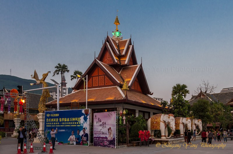 Thai style house at Golden Tower square