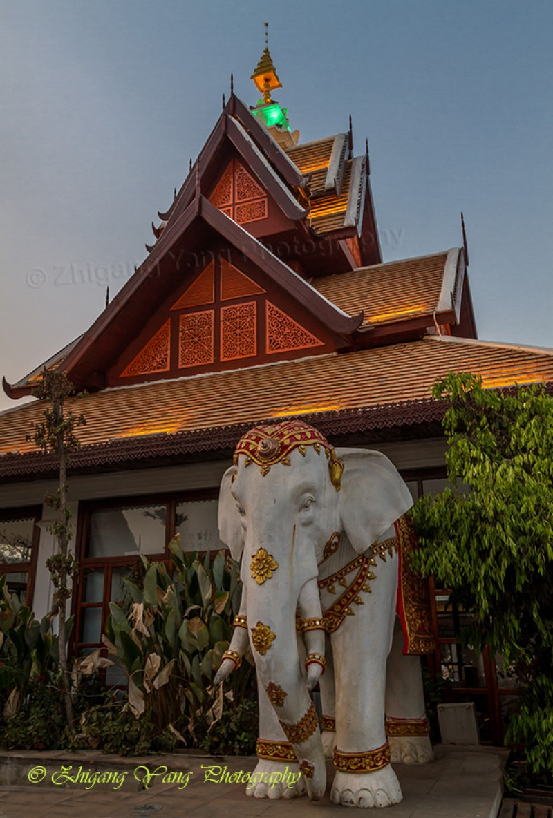 Thai style building with elephant statue
