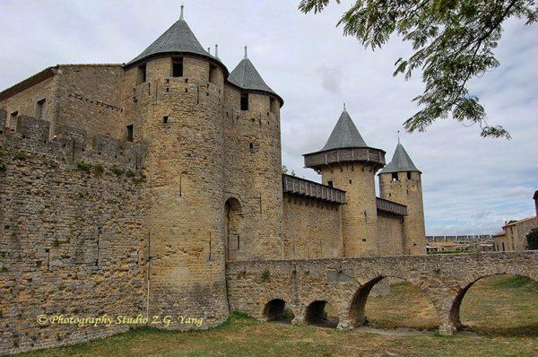 Medieval castle entrance in Carcassonne, France