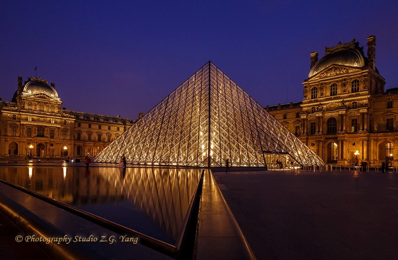 Pyramid at Louvre Museum Paris, France
