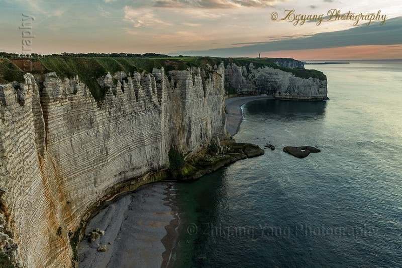 Rock formation on Etretat seashore at sunset 3