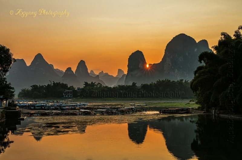 Sunset Behind the Karst Hills at Li River