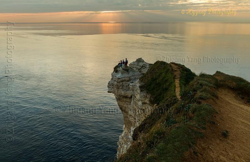 Waiting for sunset at Etretat seashore 1
